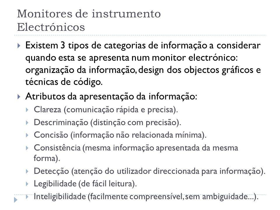 Monitores de instrumento Electrónicos Existem 3 tipos de categorias de informação a considerar quando esta se apresenta num monitor electrónico: organ