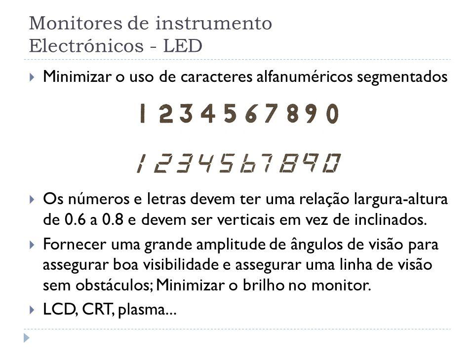 Monitores de instrumento Electrónicos - LED Minimizar o uso de caracteres alfanuméricos segmentados Os números e letras devem ter uma relação largura-