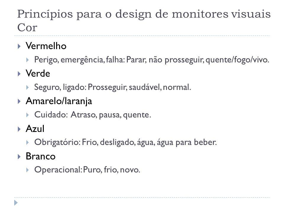 Princípios para o design de monitores visuais Cor Vermelho Perigo, emergência, falha: Parar, não prosseguir, quente/fogo/vivo. Verde Seguro, ligado: P