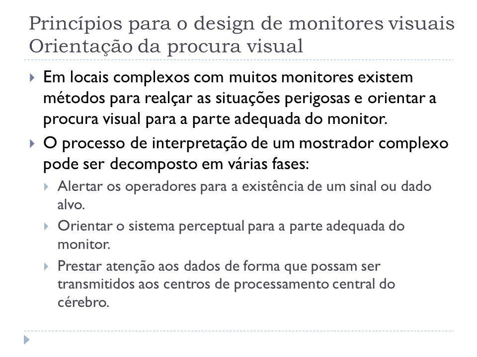 Princípios para o design de monitores visuais Orientação da procura visual Em locais complexos com muitos monitores existem métodos para realçar as si
