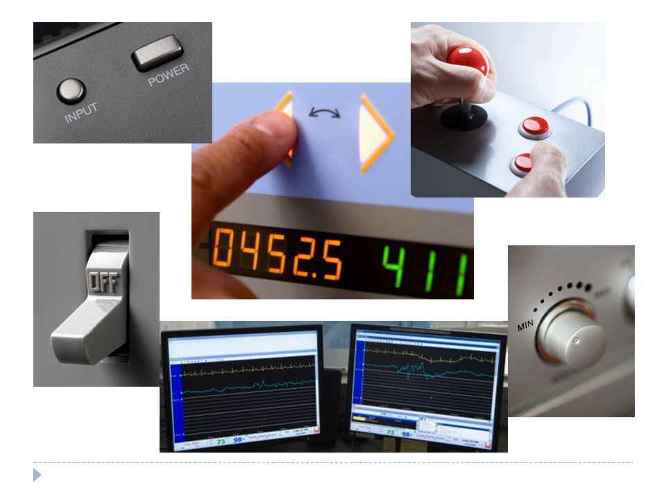 Exemplos de monitores visuais Ponteiro Contador digitalGráficoLuzes indicação