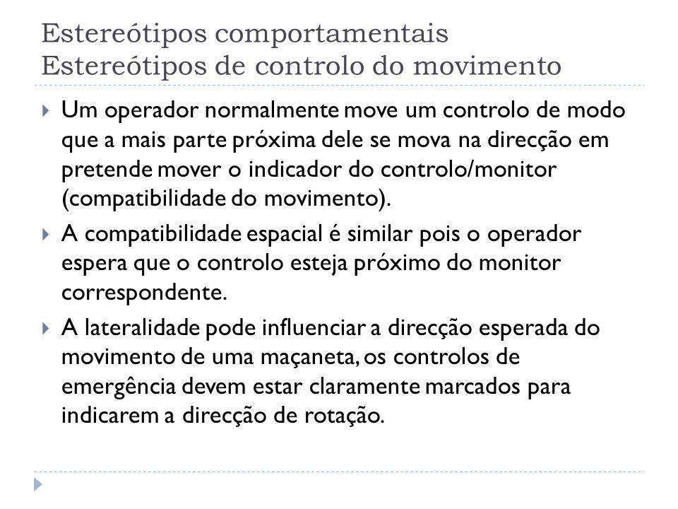 Estereótipos comportamentais Estereótipos de controlo do movimento Um operador normalmente move um controlo de modo que a mais parte próxima dele se m