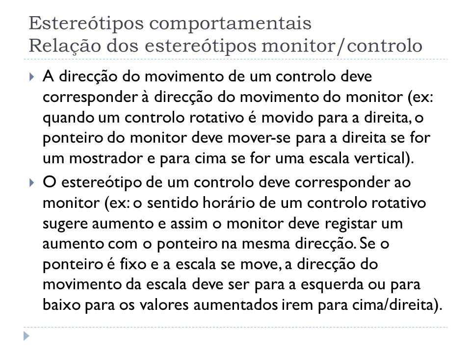 Estereótipos comportamentais Relação dos estereótipos monitor/controlo A direcção do movimento de um controlo deve corresponder à direcção do moviment