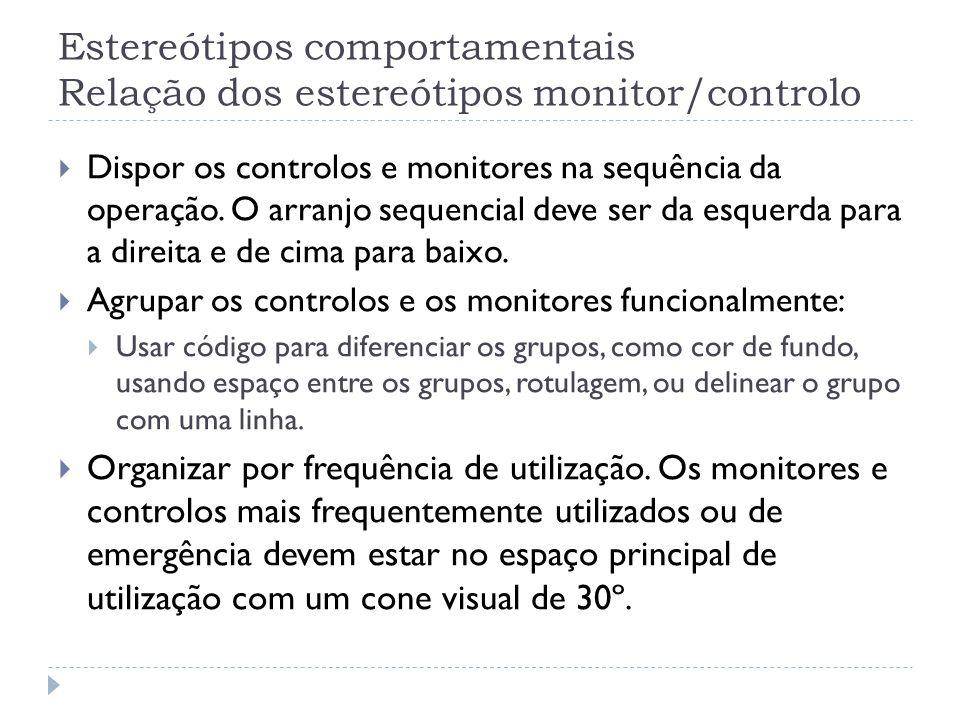 Estereótipos comportamentais Relação dos estereótipos monitor/controlo Dispor os controlos e monitores na sequência da operação. O arranjo sequencial