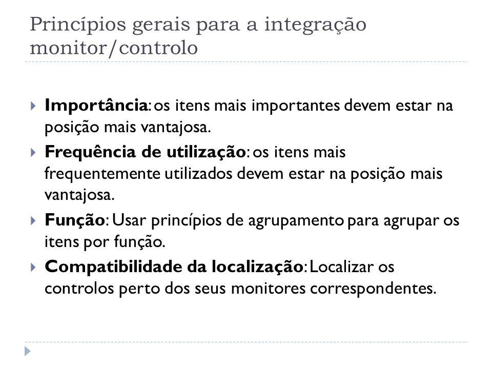 Princípios gerais para a integração monitor/controlo Importância: os itens mais importantes devem estar na posição mais vantajosa. Frequência de utili