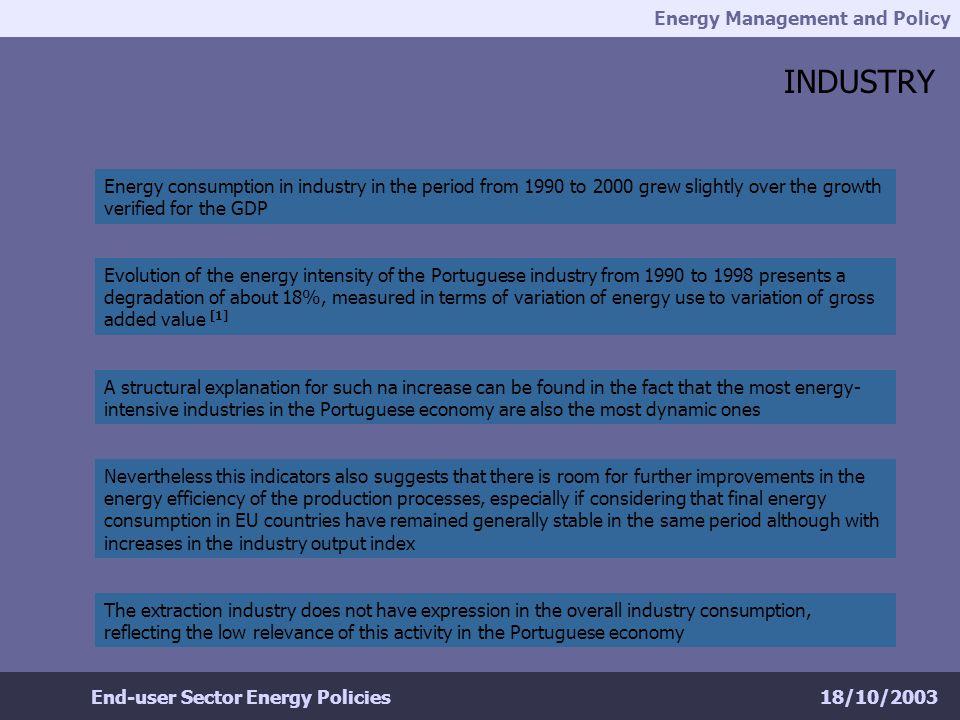 Energy Management and Policy 18/10/2003End-user Sector Energy Policies REFERENCES & FURTHER READING DGE (2001), Energia Portugal 2001 http://www.dge.pt/ DGE (1997), A Gestão da Energia e o Regulamento de Gestão do Consumo de Energia (R.G.C.E.) http://www.dge.pt/ IEA (2001), Energy Policies of IEA Countries – 2001 Review http://http://library.iea.org/dbtw-wpd/bookshop// DGE/ME (2002), Eficiência Energética nos Edifícios, Brochura de Divulgação http://www.p3e-portugal.com/p3e/index.htm DGE/ADENE/INETI, Água Quente Solar para Portugal, Brochura de Divulgação http://www.aguaquentesolar.com/aqs/index.htm