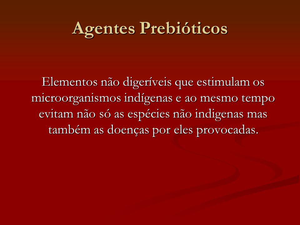 Agentes Prebióticos Elementos não digeríveis que estimulam os microorganismos indígenas e ao mesmo tempo evitam não só as espécies não indigenas mas também as doenças por eles provocadas.