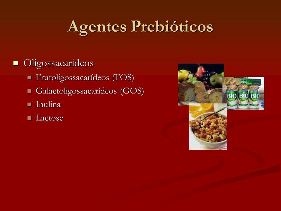 Agentes Prebióticos Oligossacarídeos Oligossacarídeos Frutoligossacarídeos (FOS) Frutoligossacarídeos (FOS) Galactoligossacarídeos (GOS) Galactoligossacarídeos (GOS) Inulina Inulina Lactose Lactose