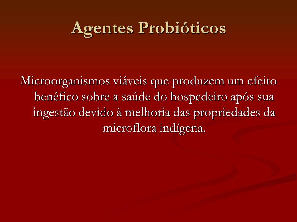 Agentes Probióticos Microorganismos viáveis que produzem um efeito benéfico sobre a saúde do hospedeiro após sua ingestão devido à melhoria das propriedades da microflora indígena.