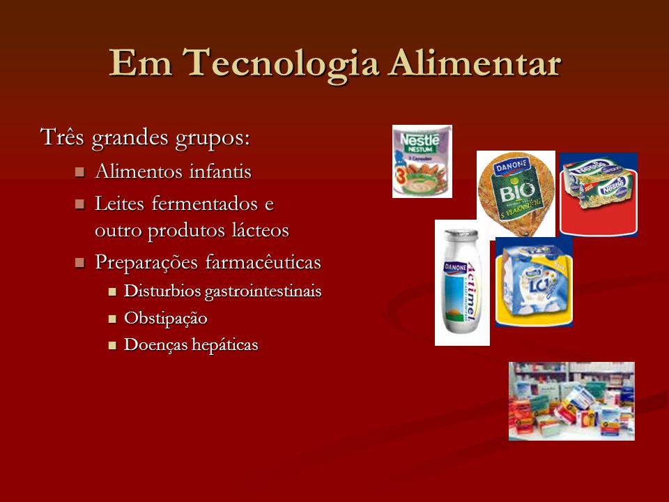 Em Tecnologia Alimentar Três grandes grupos: Alimentos infantis Alimentos infantis Leites fermentados e outro produtos lácteos Leites fermentados e ou