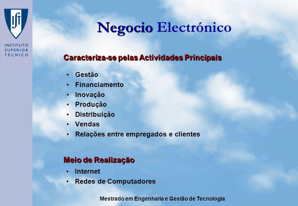 Mestrado em Engenharia e Gestão de Tecnologia Negocio Negocio Electrónico Gestão Financiamento Inovação Produção Distribuição Vendas Relações entre empregados e clientes Caracteriza-se pelas Actividades Principais Meio de Realização Internet Redes de Computadores