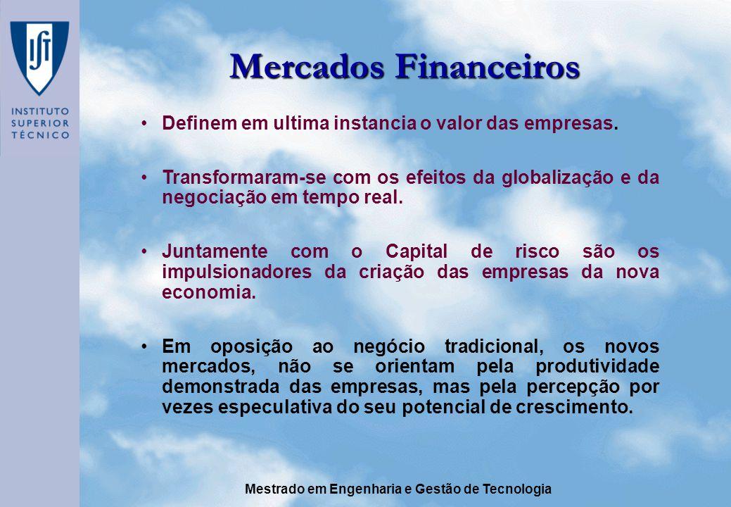 Mestrado em Engenharia e Gestão de Tecnologia Mercados Financeiros Definem em ultima instancia o valor das empresas.