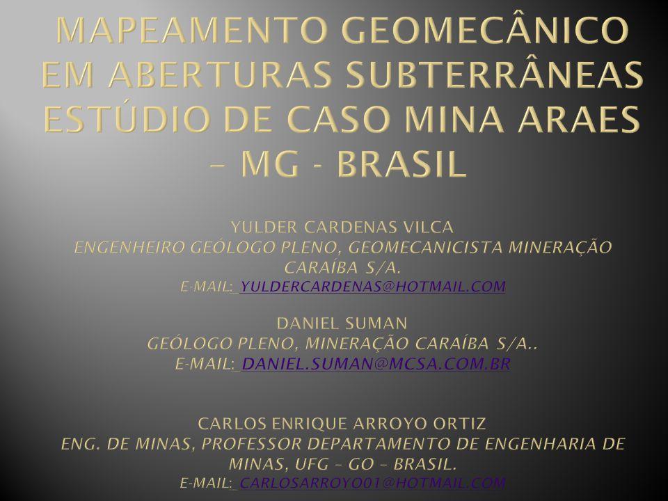 Figura 4 Croqui Mina do Araés: Demonstrativo dos trechos verificados pela Inspeção Geomecânica e os pontos de monitoramento.