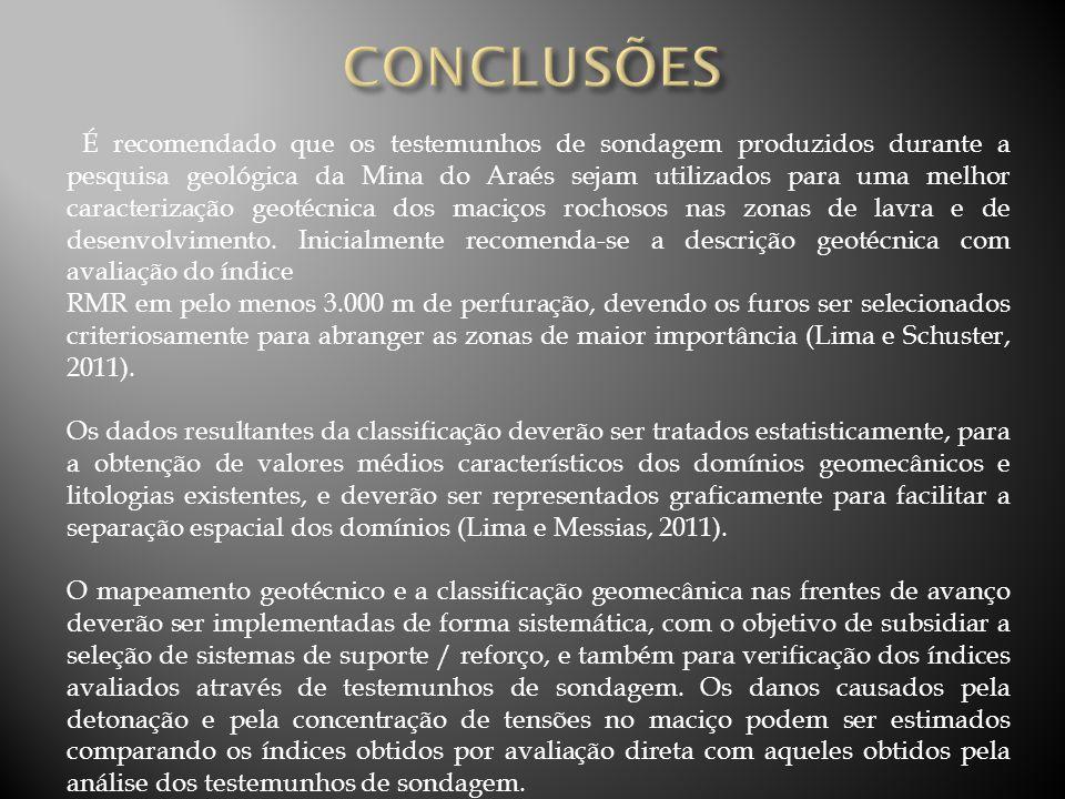 É recomendado que os testemunhos de sondagem produzidos durante a pesquisa geológica da Mina do Araés sejam utilizados para uma melhor caracterização