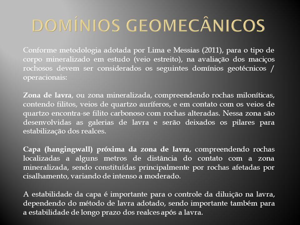 Conforme metodologia adotada por Lima e Messias (2011), para o tipo de corpo mineralizado em estudo (veio estreito), na avaliação dos maciços rochosos