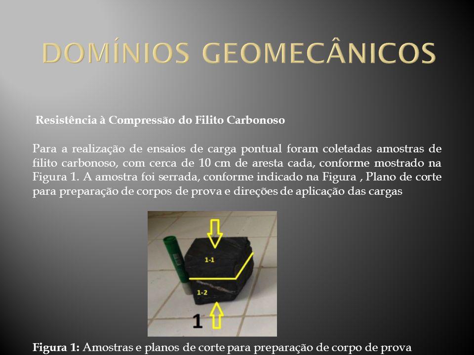 Resistência à Compressão do Filito Carbonoso Para a realização de ensaios de carga pontual foram coletadas amostras de filito carbonoso, com cerca de
