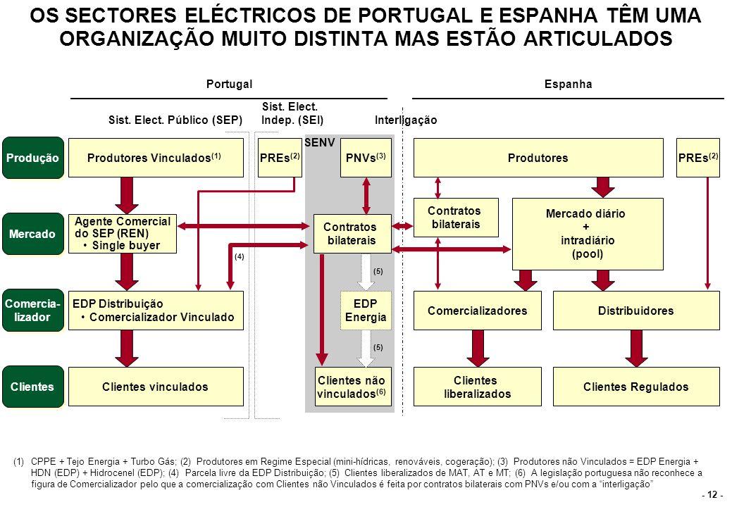 - 12 - OS SECTORES ELÉCTRICOS DE PORTUGAL E ESPANHA TÊM UMA ORGANIZAÇÃO MUITO DISTINTA MAS ESTÃO ARTICULADOS (1)CPPE + Tejo Energia + Turbo Gás; (2) P