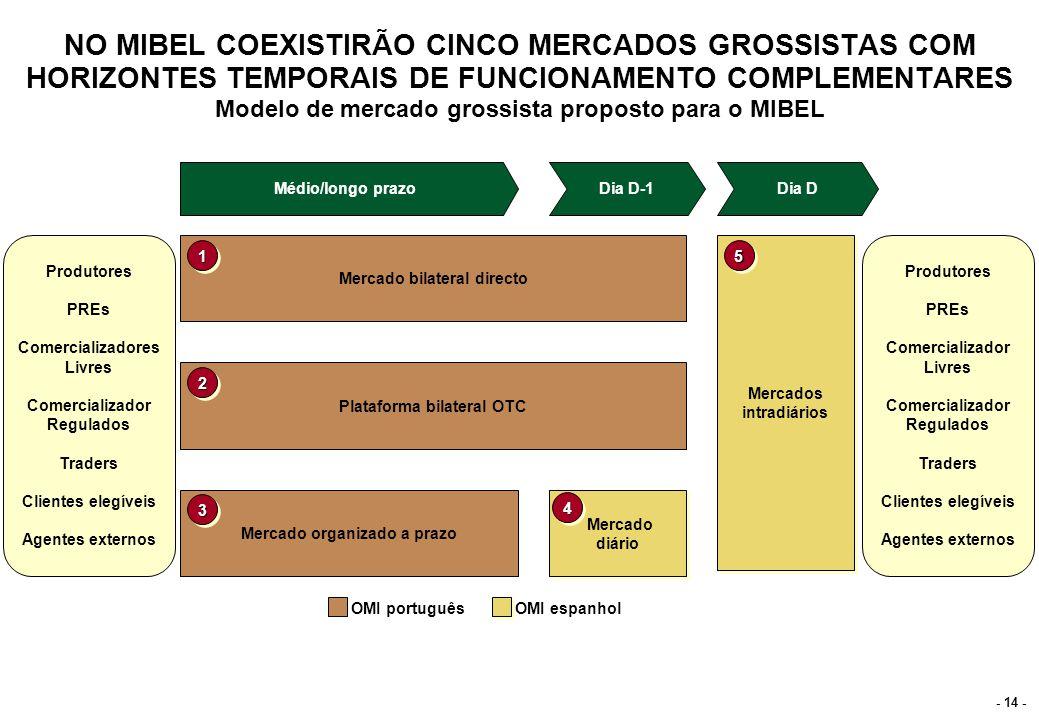 - 14 - NO MIBEL COEXISTIRÃO CINCO MERCADOS GROSSISTAS COM HORIZONTES TEMPORAIS DE FUNCIONAMENTO COMPLEMENTARES Modelo de mercado grossista proposto pa