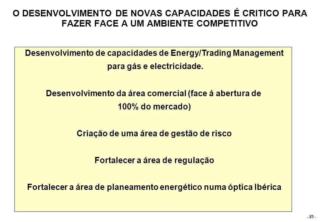 - 25 - O DESENVOLVIMENTO DE NOVAS CAPACIDADES É CRITICO PARA FAZER FACE A UM AMBIENTE COMPETITIVO Desenvolvimento de capacidades de Energy/Trading Man