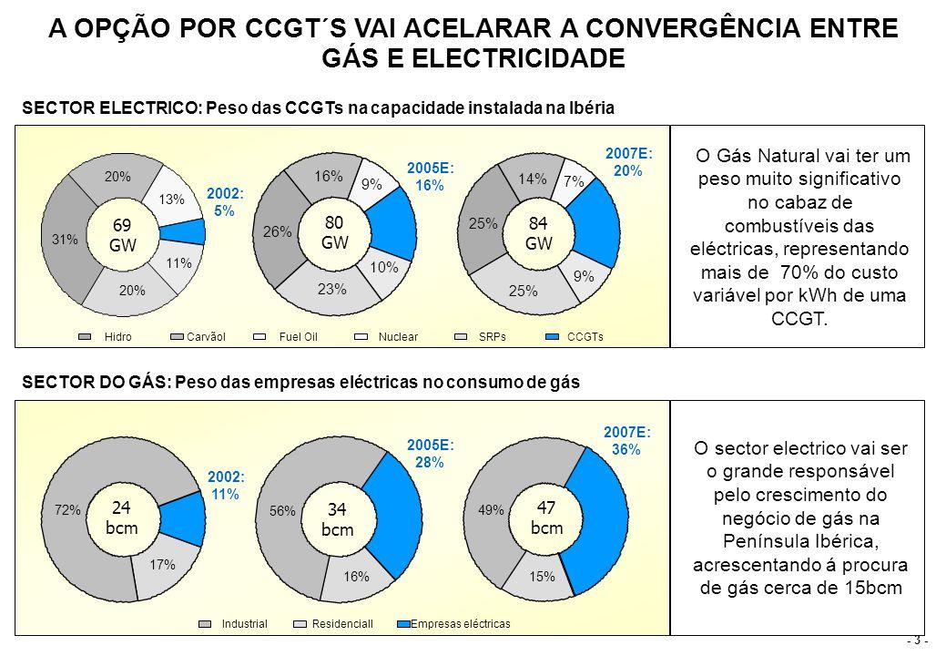 - 24 - O PORTEFÓLIO DE PRODUÇÃO DA EDP FICARÁ AINDA MAIS EFICIENTE COM A INTRODUÇÃO DOS CICLOS COMBINADOS Custo marginal da EDP(actual) Custo marginal da EDP com CCGT 10 20 30 40 50 20%40%60%80% Hydro Coal Fuel 1 Fuel 2 Fuel 3 Generated energy /MWh 10 20 30 40 50 20%40%60%80% Hydro Coal CCGT Fuel 1 Fuel 2 /MWh Generated energy As novas CCGT´s vão aumentar a emissão em mais 30% a um custo marginal mais baixo O que vai permitir á EDP ser mais activa ao longo da curva da procura