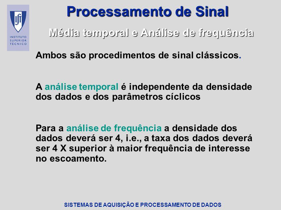 SISTEMAS DE AQUISIÇÃO E PROCESSAMENTO DE DADOS Processamento de Sinal Média temporal e Análise de frequência Ambos são procedimentos de sinal clássicos.