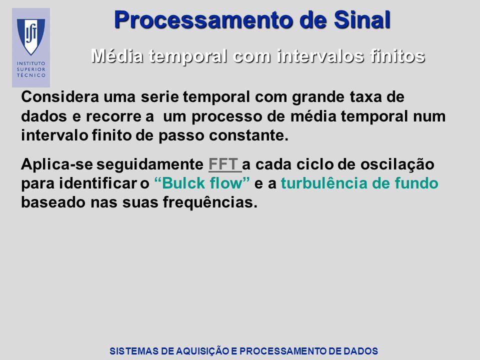 SISTEMAS DE AQUISIÇÃO E PROCESSAMENTO DE DADOS Processamento de Sinal Fast Fourier Transform Algoritmo numérico que permite reduzir o número de flops da ordem de N 2 para N.log 2 N Num processador com 10 -6 ciclos por segundo: N 2 : 2 semanas de processamento computacional N.log 2 N: 30 segundos de processamento computacional