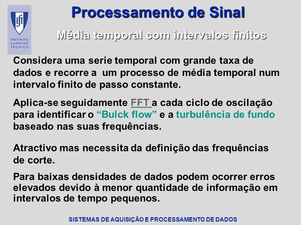 SISTEMAS DE AQUISIÇÃO E PROCESSAMENTO DE DADOS Processamento de Sinal Média temporal com intervalos finitos Considera uma serie temporal com grande taxa de dados e recorre a um processo de média temporal num intervalo finito de passo constante.