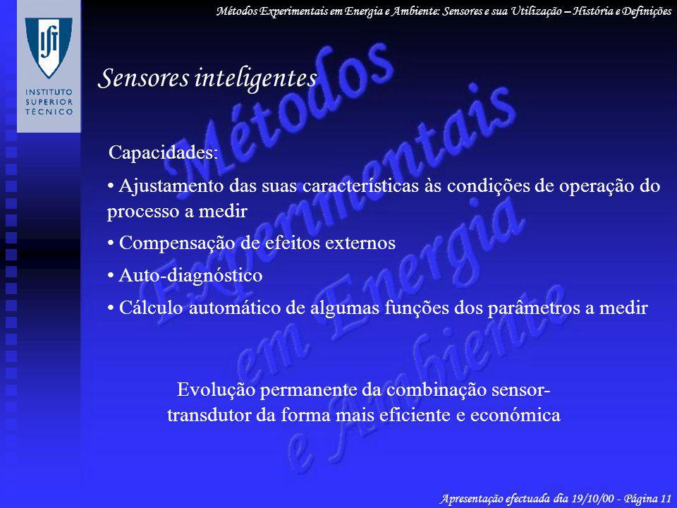 Sensores inteligentes Métodos Experimentais em Energia e Ambiente: Sensores e sua Utilização – História e Definições Apresentação efectuada dia 19/10/