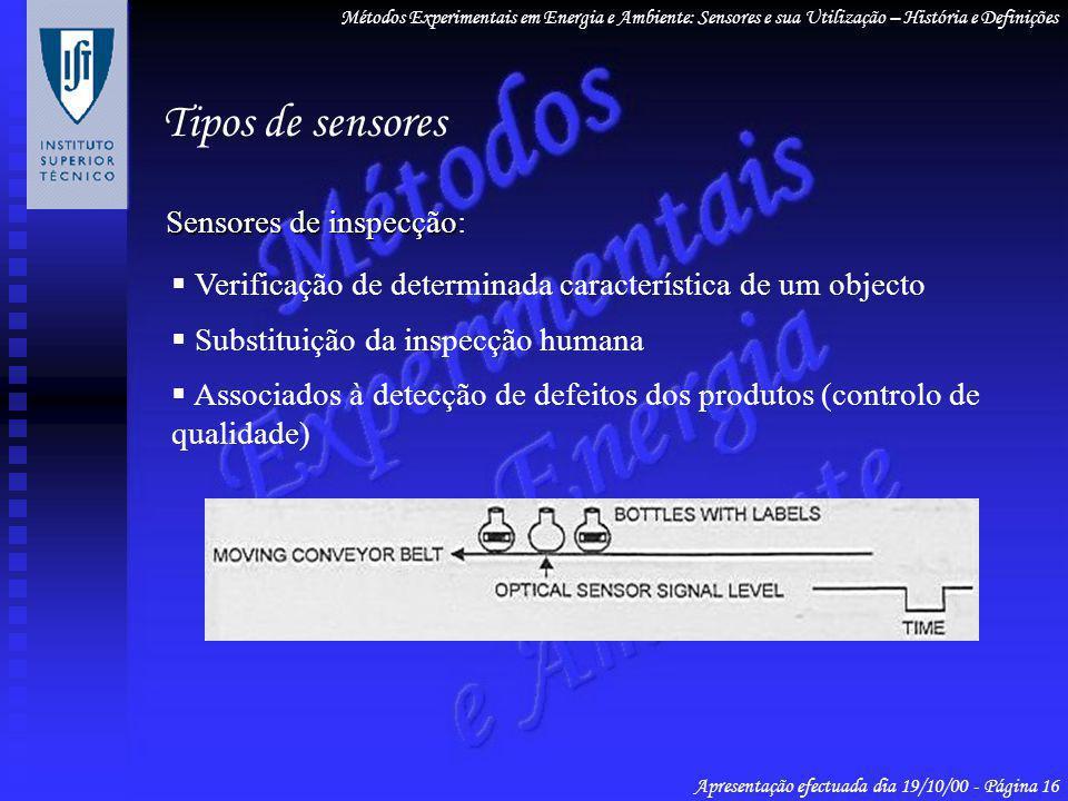 Sensores de inspecção Sensores de inspecção: Verificação de determinada característica de um objecto Substituição da inspecção humana Associados à det