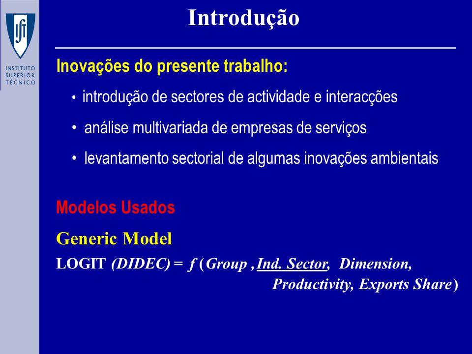 Introdução Inovações do presente trabalho: introdução de sectores de actividade e interacções análise multivariada de empresas de serviços levantamento sectorial de algumas inovações ambientais Modelos Usados LOGIT (DIDEC)=f ( ) Group,Ind.