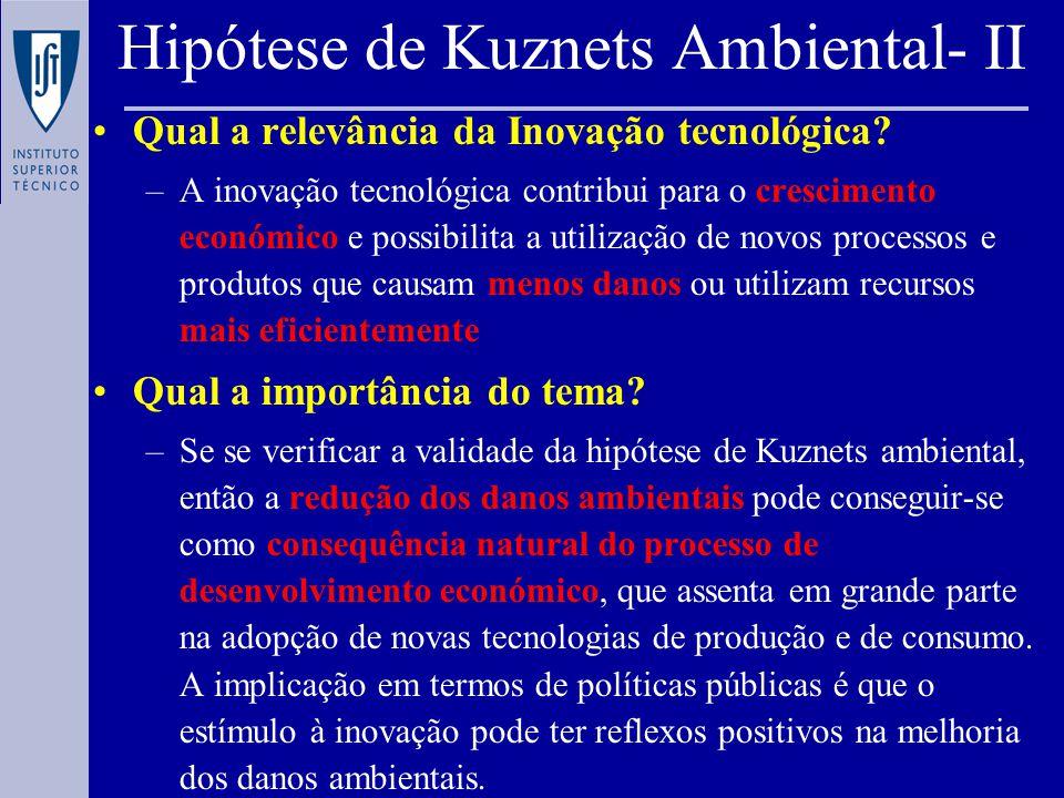 Hipótese de Kuznets Ambiental- II Qual a relevância da Inovação tecnológica.