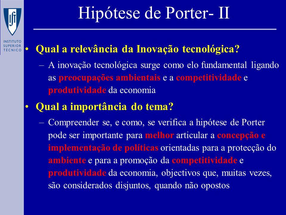 Questões analisadas: –Que informação quantitativa sobre a validade/melhor compreensão da hipótese de Porter se pode extrair dos resultados do CIS.
