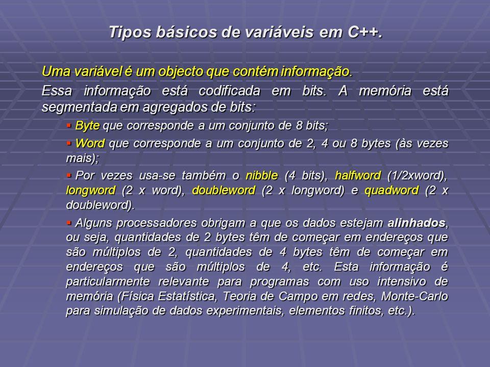 Tipos básicos de variáveis em C++. Uma variável é um objecto que contém informação. Essa informação está codificada em bits. A memória está segmentada