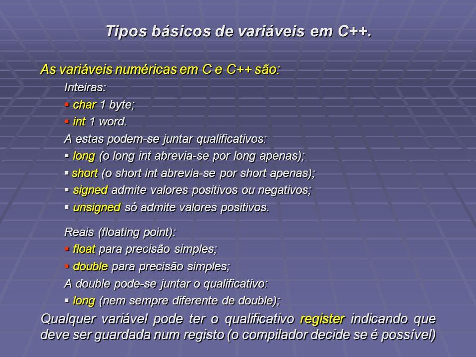Tipos básicos de variáveis em C++. As variáveis numéricas em C e C++ são: Inteiras: char 1 byte; char 1 byte; int 1 word. int 1 word. A estas podem-se