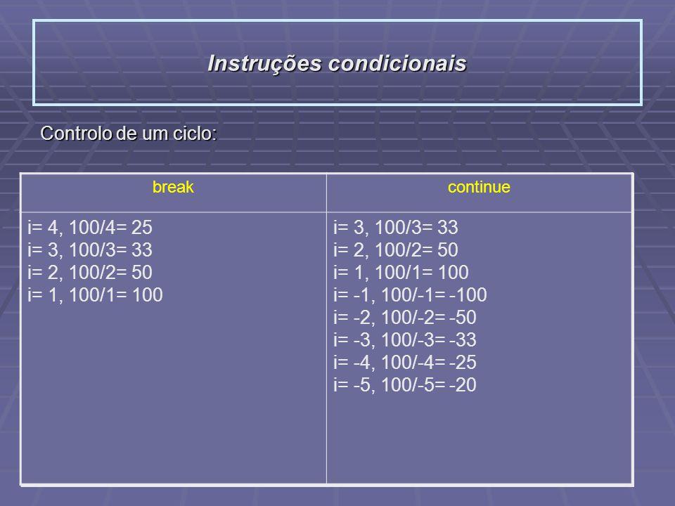 Instruções condicionais Controlo de um ciclo: breakcontinue #include int main(){ int i=4, j=100; while( abs(i) <=4 ){ if( i == 0 ) break; printf(