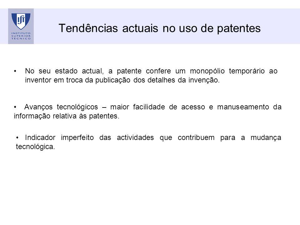 Tendências actuais no uso de patentes No seu estado actual, a patente confere um monopólio temporário ao inventor em troca da publicação dos detalhes da invenção.