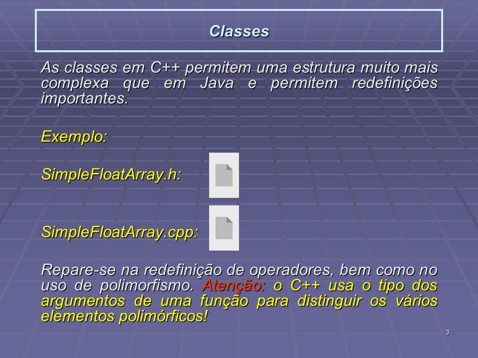 3 Classes As classes em C++ permitem uma estrutura muito mais complexa que em Java e permitem redefinições importantes. Exemplo:SimpleFloatArray.h:Sim