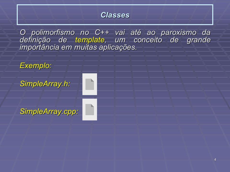 4 Classes O polimorfismo no C++ vai até ao paroxismo da definição de template, um conceito de grande importância em muitas aplicações.