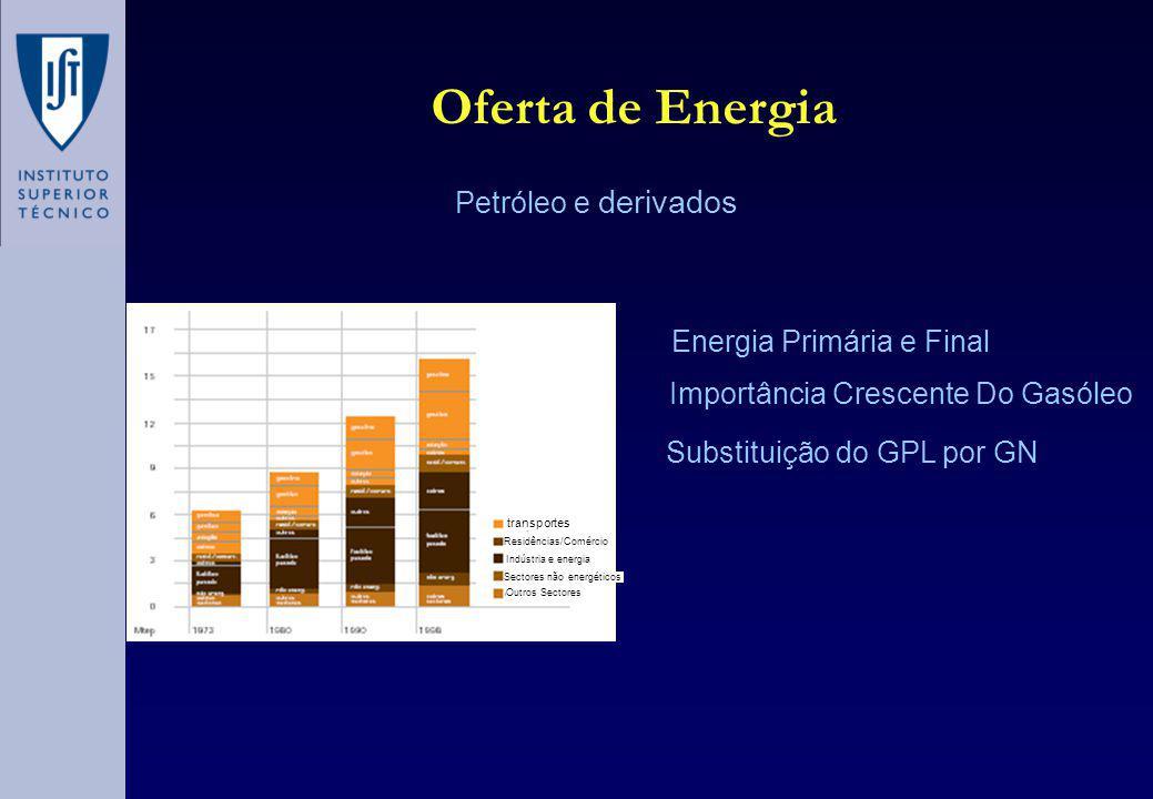 Oferta de Energia Petróleo e derivados transportes Energia Primária e Final Importância Crescente Do Gasóleo Substituição do GPL por GN Residências/Comércio Indústria e energia Sectores não energéticos Outros Sectores
