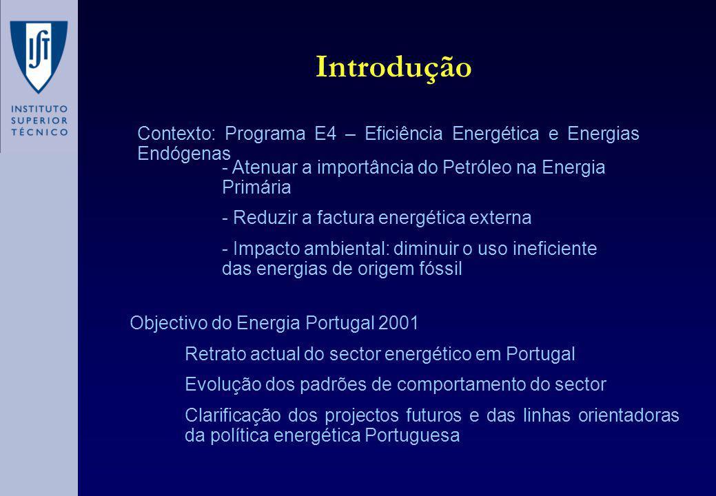 Introdução Contexto: Programa E4 – Eficiência Energética e Energias Endógenas - Atenuar a importância do Petróleo na Energia Primária - Reduzir a factura energética externa - Impacto ambiental: diminuir o uso ineficiente das energias de origem fóssil Objectivo do Energia Portugal 2001 Retrato actual do sector energético em Portugal Evolução dos padrões de comportamento do sector Clarificação dos projectos futuros e das linhas orientadoras da política energética Portuguesa