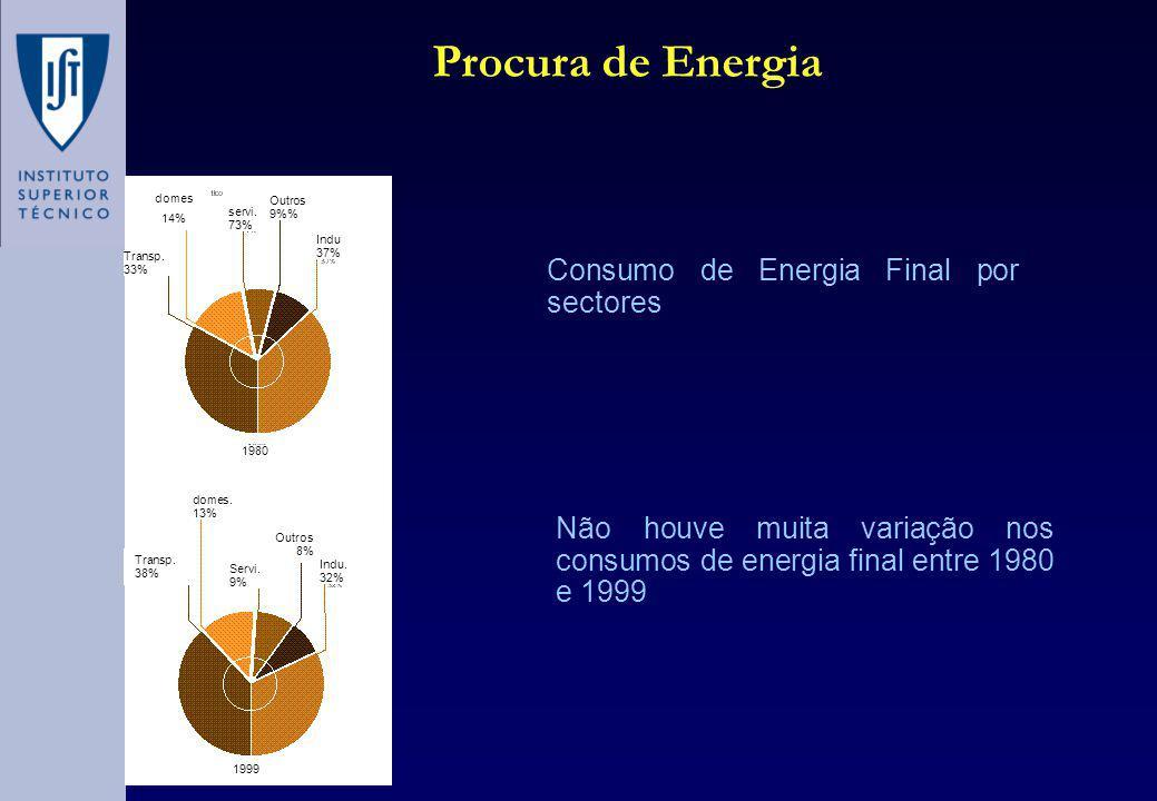Procura de Energia Não houve muita variação nos consumos de energia final entre 1980 e 1999 Consumo de Energia Final por sectores Transp.
