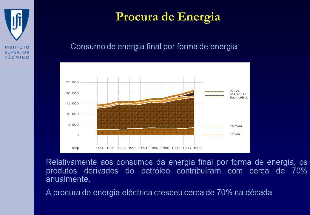 Relativamente aos consumos da energia final por forma de energia, os produtos derivados do petróleo contribuíram com cerca de 70% anualmente.