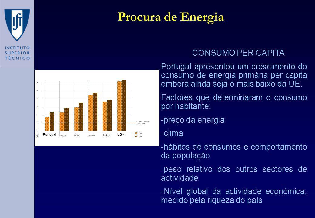 A intensidade energética do PIB aumentou 1.4% ao ano, a riqueza do país por unidade de energia consumida evoluiu negativamente causada essencialmente pelos grandes consumidores como as cerâmicas e cimenteiras (40%), alimentação e bebidas Factor de Energia ou Intensidade Energética do PIB Procura de Energia