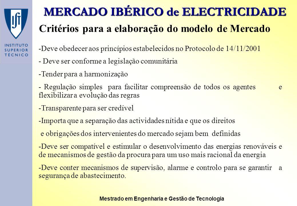 MERCADO IBÉRICO de ELECTRICIDADE Mestrado em Engenharia e Gestão de Tecnologia Critérios para a elaboração do modelo de Mercado -Deve obedecer aos pri
