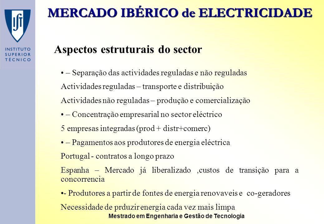 MERCADO IBÉRICO de ELECTRICIDADE Mestrado em Engenharia e Gestão de Tecnologia Aspectos estruturais do sector – Separação das actividades reguladas e