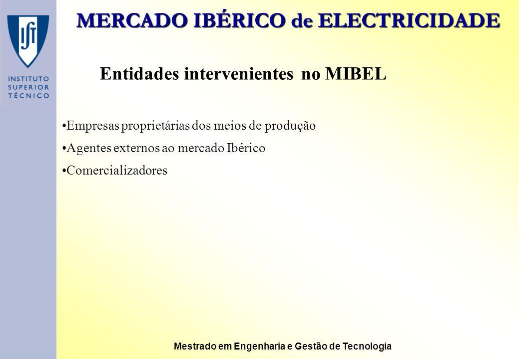 MERCADO IBÉRICO de ELECTRICIDADE Mestrado em Engenharia e Gestão de Tecnologia Entidades intervenientes no MIBEL Empresas proprietárias dos meios de p
