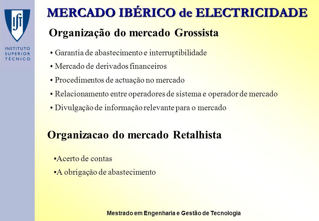 MERCADO IBÉRICO de ELECTRICIDADE Mestrado em Engenharia e Gestão de Tecnologia Organização do mercado Grossista Garantia de abastecimento e interrupti