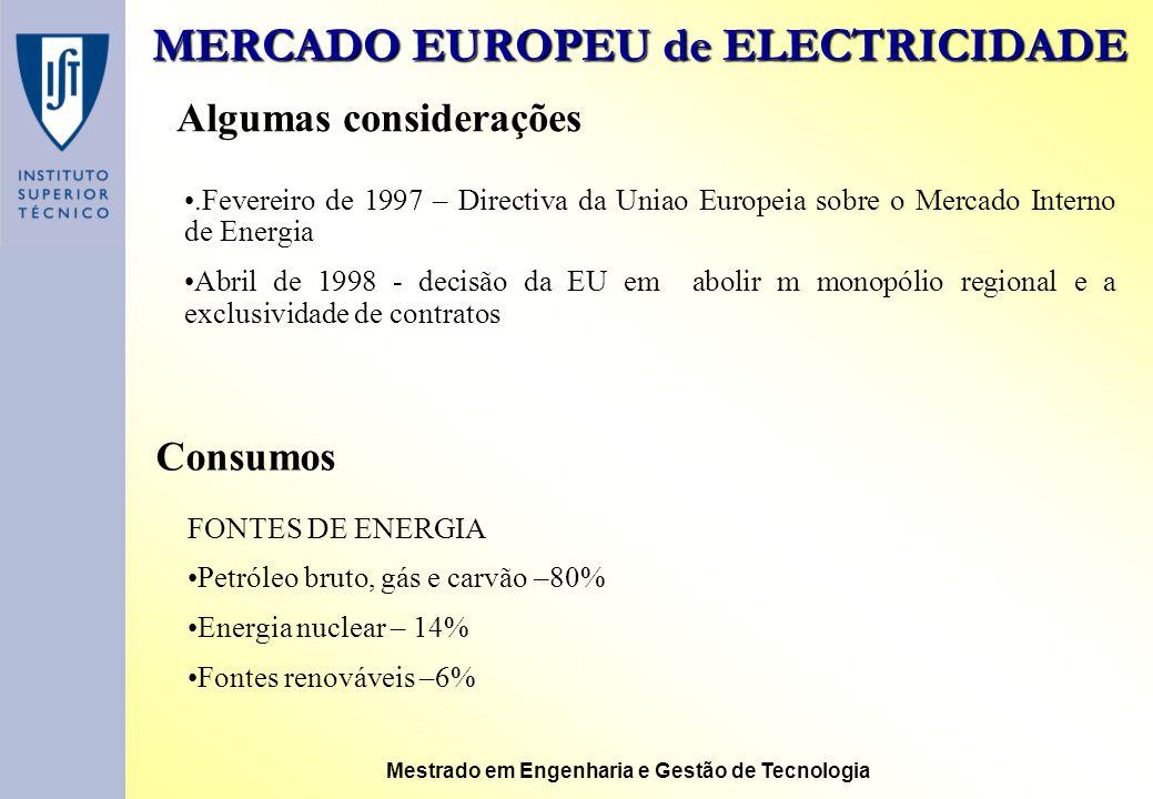 MERCADO EUROPEU de ELECTRICIDADE Mestrado em Engenharia e Gestão de Tecnologia Algumas considerações.Fevereiro de 1997 – Directiva da Uniao Europeia s
