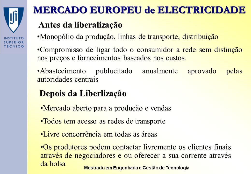 MERCADO EUROPEU de ELECTRICIDADE Mestrado em Engenharia e Gestão de Tecnologia Antes da liberalização Monopólio da produção, linhas de transporte, dis
