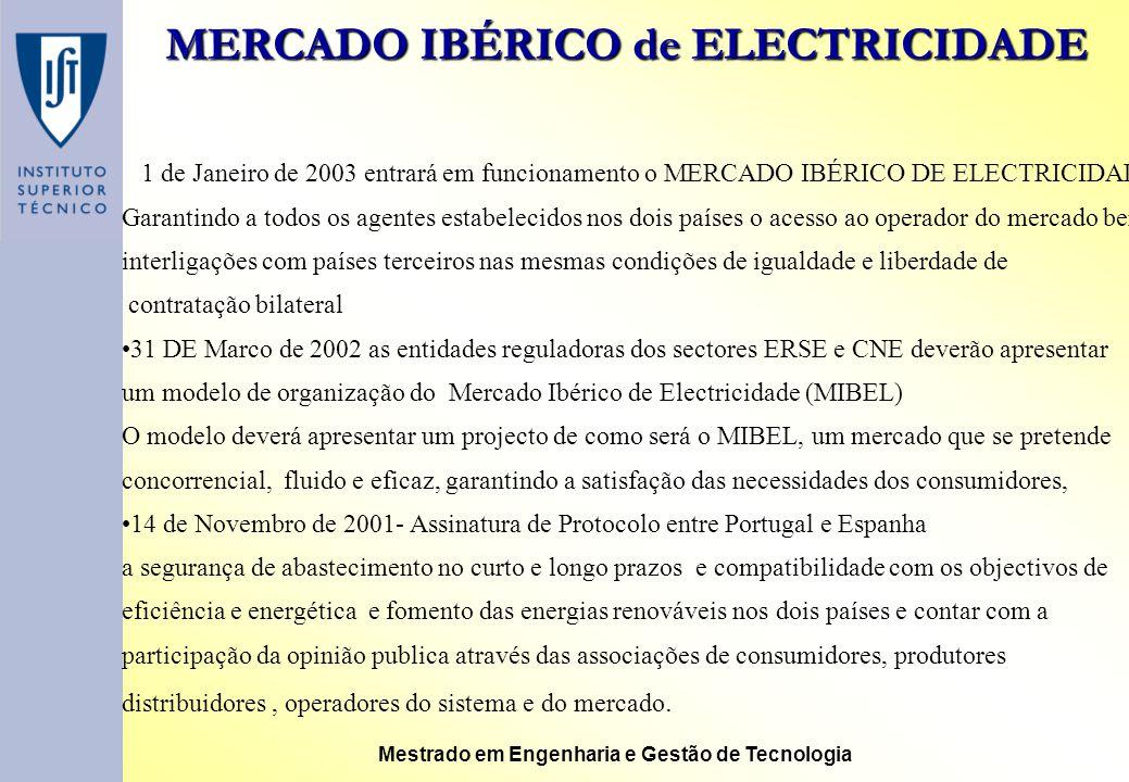 MERCADO IBÉRICO de ELECTRICIDADE Mestrado em Engenharia e Gestão de Tecnologia 1 de Janeiro de 2003 entrará em funcionamento o MERCADO IBÉRICO DE ELEC